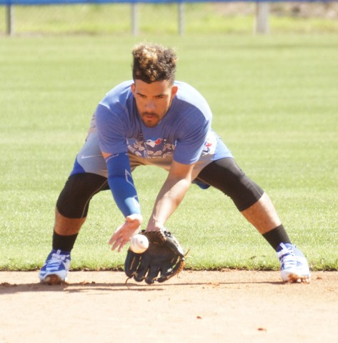 Devon Travis continues to to take grounders at second at the Blue Jays Mattick Complex in Dunedin. EDDIE MICHELS PHOTO)