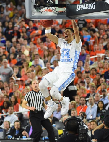 North Carolina Tar Heels forward Justin Jackson (44) dunks against the Syracuse Orange in the second half in the 2016 NCAA Men's Division I Championship semi-final game at NRG Stadium. (photo Robert Deutsch / USA TODAY Sports)