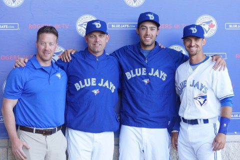 The Class-A Dunedin has a nice group of Canadians on their squad including one Canadian Hall of Fame member in 2016. From left to right is the teams strength and conditioning coach Jeremy Trach, second is a member of this years Canadian Baseball Hall of Fame Class Pat Hentgen. As a member of the Jays World Series winners in 1992 and 1993 Hentgen was also the American League CY Young winner in 1996. Third from the left is RHP Tom Robson and then is catcher Mike Reeves. (EDDIE MICHELS PHOTO)