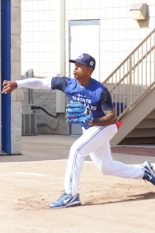 Marcus Stroman throws his last bullpen session before making his first opening day start on Sunday against the Rays in Tampa. (EDDE MICHELS PHOTO)