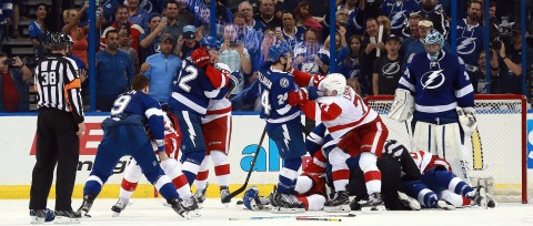 Apr 15, 2016; Tampa, FL, USA; Tampa Bay Lightning and Detroit Red Wings fight with less then one minute left during the third period of the game two of the first round of the 2016 Stanley Cup Playoffs at Amalie Arena. Tampa Bay Lightning defeated the Detroit Red Wings 5-2. Mandatory Credit: Kim Klement-USA TODAY Sports