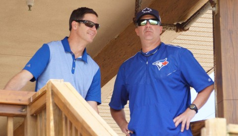 Ross Adkins and Paul Quantrill Take in Canadian Juniors Game (EDDIE MICHELS PHOTO)