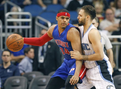 Orlando Magic guard Evan Fournier (10) guards against Detroit Pistons forward Tobias Harris (34) during the second half.  (photo Reinhold Matay / USA TODAY Sports)