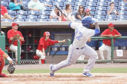 Prospect Anthony Alford Singles to Left for His Only Hit.  Alford was 1 for 7 dropping his average to .118 (EDDIE MICHELS PHOTO)