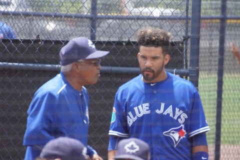 Devon Travis and Sandy Alomar Sr. Chat Between Innings 5-5-16 (EDDIE MICHELS PHOTO)