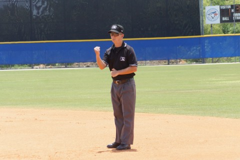 Canadian Umpire Michael Boulianne of Quebec City makes the call at first during an extended spring training at the Blue Jays Mattick Complex in Dunedin.  Boulianne is in his second year as a pro umpire and is scheduled to start the 2016 season in the short season New York Penn League EDDIE MICHELS PHOTO