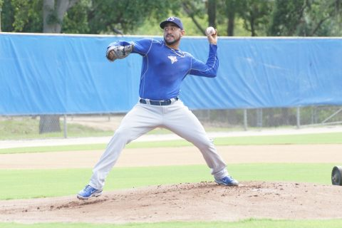"Franklin Morales threw live BP as a Blue Jays for the first time on Friday at the team's Mattick Complex.  Morales threw 25-pitches and afterwards gave the thumbs up when ask how he felt.  When ask when he would throw again Morales said, ""Tuesday I will face live hitters.""  (EDDIE MICHELS PHOTO)"