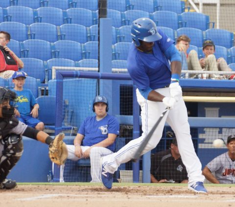 Anthony Alford Doubles to Right. (EDDIE MICHELS PHOTO)