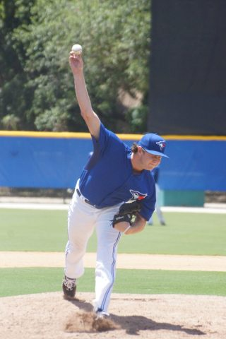 Brayden Bouchey of White Rock, BC got his first professional win on Tuesday pitching a scoreless ninth inning as the GCL Blue Jays score a come from behind 8-7 win over the Braves. (EDDIE MICHELS PHOTO)