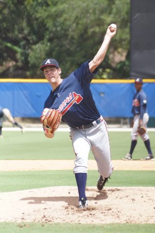 Braves second rounder Joey Wentz started and threw three scoreless innings on Tuesday against the GCL Blue Jays squad. Wentz allowed one hits while walking three and striking out two. (EDDIE MICHELS PHOTO)