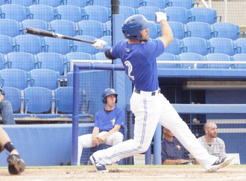 Prospect Dickie Joe Thon Homers to Left Center on a 1-0 Pitch (EDDIE MICHELS PHOTO)
