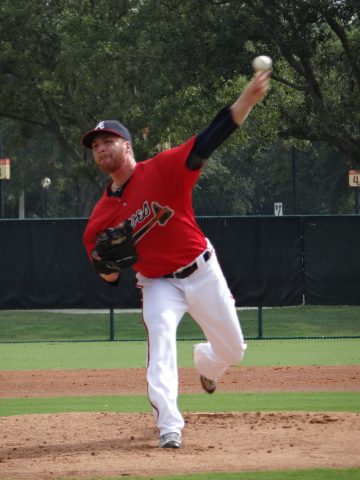 Braves lefty Eric O'Flaherty (right knee strain) made his first rehab start for the GCL Braves on Saturday taking the loss after only one inning on the mound. O'Flaherty went one inning allowing one run on two hits and striking out two in a 4-0 loss to the Phillies GCL squad. O'Flaherty threw 18-pitches, 13 for strikes including throwing first pitch strikes to three of the six hitters he faced. (EDDIE MICHELS PHOTO)