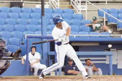 Prospect Josh Almonte doubles in a run.  (EDDIE MICHELS PHOTO)