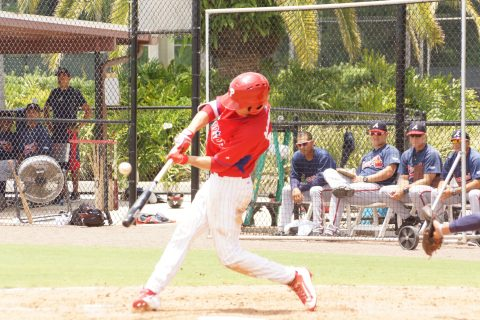 The Phillies first pick in this June's draft, first overall Mickey Moniak singles to left during the GCL Phillies 3-2 win over the Braves on Friday. Moniak went 2-3 including a bunt single on Friday with an RBI and scored a run to raise his average to an even .300 (EDDIE MICHELS PHOTO)