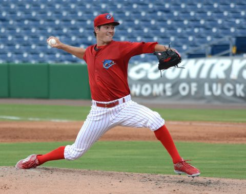 Threshers starting pitcher Drew Anderson struck out six batters and walked one in his four hitless innings on Sunday. (photo BUCK DAVIDSON)