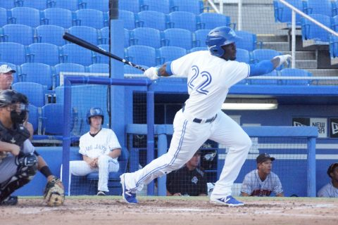Prospect Anthony Alford Singles to Right (EDDIE MICHELS PHOTO)