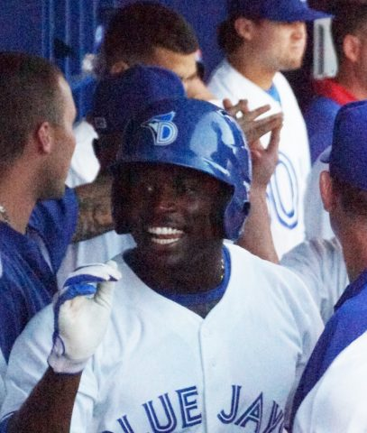 Prospect Anthony Alford in Dugout after Homer is all smiles (EDDIE MICHELS PHOTO)