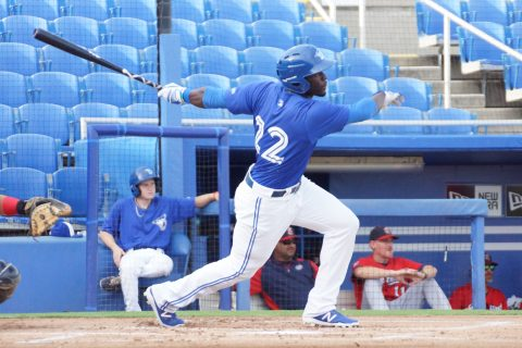 Prospect Anthony Alford Doubles to Right Center (EDDIE MICHELS PHOTO)