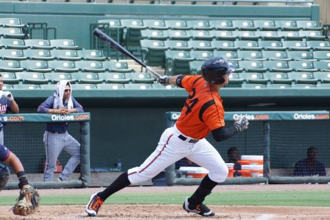 Canadian prospect Tristan Graham of North Vancouver, BC hits a ground rule double driving in two runs on Monday for the GCL Orioles against the Twins. (EDDIE MICHELS PHOTO)