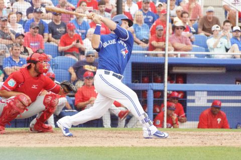 Dunedin March 28, 2016: Outfielder Darrell Ceciliani deposited a 3-0 offering from Philadelphia Phillies reliever Dalier Hinojosa over the right field fence in the bottom of the eighth to give the Toronto Blue Jays a 2-1 Grapefruit League victory. (EDDIE MICHELS PHOTO)