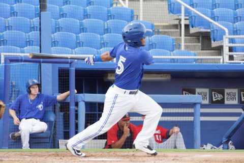 Prospect Jorge Flores Single to Left (EDDIE MICHELS PHOTO)