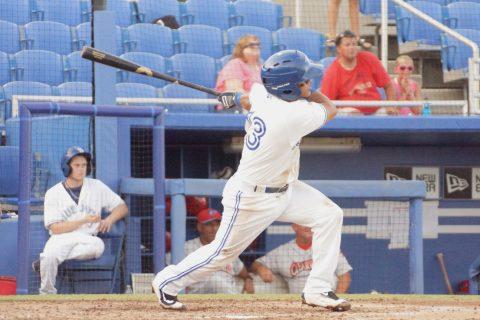 Prospect Jorge Flores Double to Left (EDDIE MICHELS PHOTO)