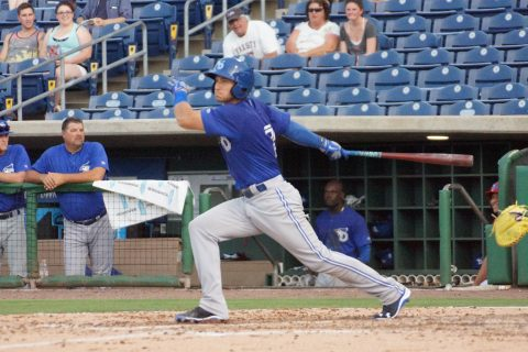 Canadian Prospect Mike Reeves Double to Left (EDDIE MICHELS PHOTO)