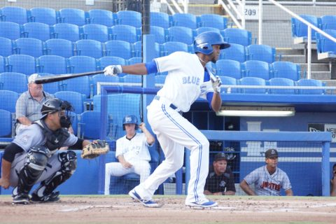 Prospect Richard Urena Singles to Center (EDDIE MICHELS PHOTO)