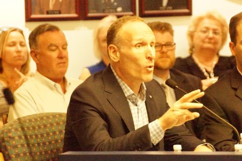 Mark Shapiro speaks to City of Dunedin, Florida Commission about spending another 25 years in Dunedin. (EDDIE MICHELS PHOTO)