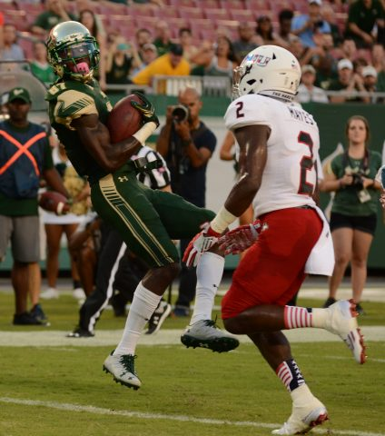 Rodney Adams had two TDs on the night, one by land and one by air (photo Travis Failey)