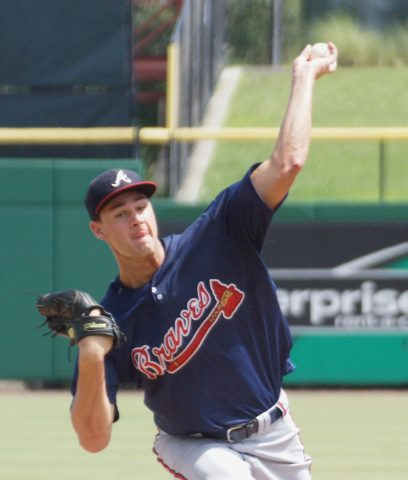 The Braves Kyle Muller took the loss on Sunday vs the Phillies.  Muller went four innings allowing two runs on two hits, walking three but striking out eight. (EDDIE MICHELS PHOTO)