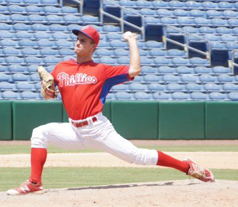 GCL Phillies reliever Nick Fanti went 5 1/3 shutout innings Tuesday allowing three hits while striking out six as the Phillies evened there GCL series finals against the Cardinals at a game a piece. (EDDIE MICHELS PHOTO)