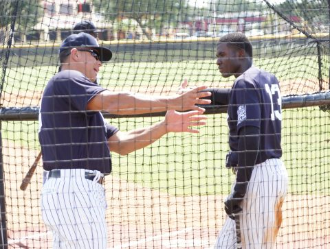 A-Rod talks hitting with another #13 Yankee Prospect Estevan Florial. (EDDIE MICHELS PHOTO)
