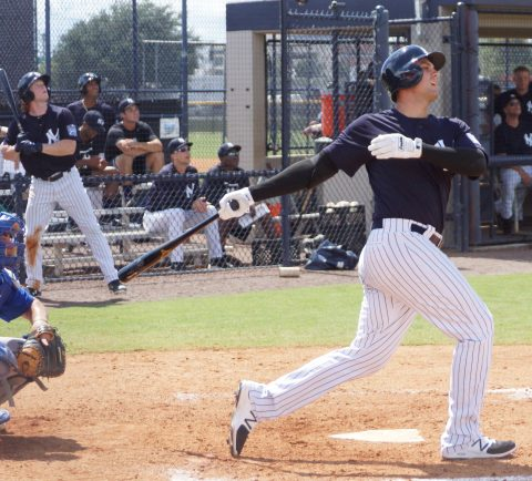 Yankee 1B Of The Future Greg Bird Hits a Sac Fly (EDDIE MICHELS PHOTO)