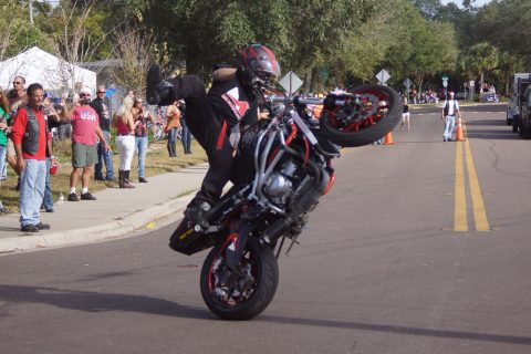 Stunt rider Bryan Marino entertains fellow bikers (EDDIE MICHELS PHOTO)